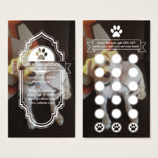 CUSTOM IMAGE pet paw loyalty program Business Card