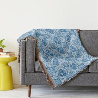 Custom Indigo Blue Floral Faux Lace Pattern