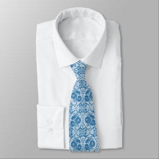Custom Indigo Blue Floral Faux Lace Pattern Tie
