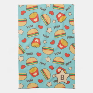 Custom Initial | Burger & Fries Pattern Tea Towel