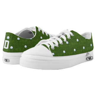 Custom Initial Green Golf Ball Patterned Printed Shoes