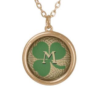 Custom Initial Green Shamrock Celtic Knot Pendant