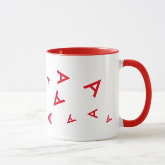 custom initial letter A red typography Mug