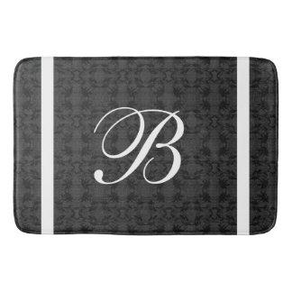 Custom Initial Monogram Black And White Bath Mat