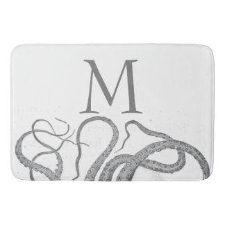 Custom initial monogram nautical octopus kraken bath mat