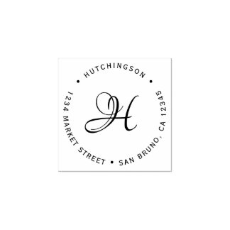 Custom Initial Monogram Script Return Address Rubber Stamp