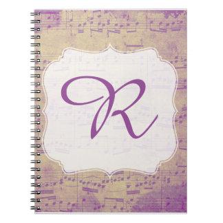 Custom Initial Music Notebook Purple Grungle