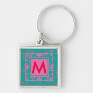 custom initial personalized Silver-Colored square key ring