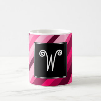 Custom Initial + Pink/Magenta Stripes Pattern Mug