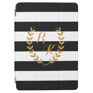 Custom Initial Preppy iPad Case with Golden Wreath