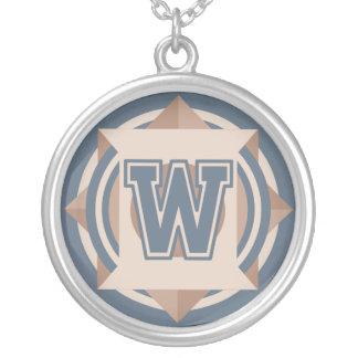 Custom Initial 'W' Monogram Round Pendant Necklace