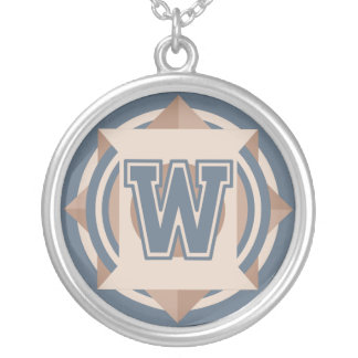 Custom Initial 'W' Monogram Silver Plated Necklace
