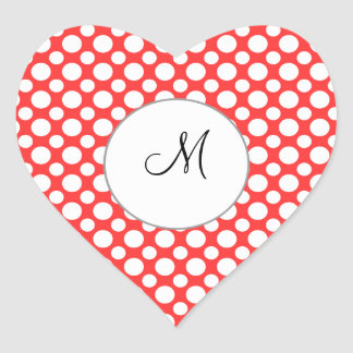 Custom Initial White Polka Dots on Red Sticker