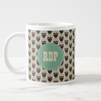Custom Initials Beards & Eyeglasses Hipster Large Coffee Mug