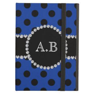 Custom initials blue black polka dots case for iPad air