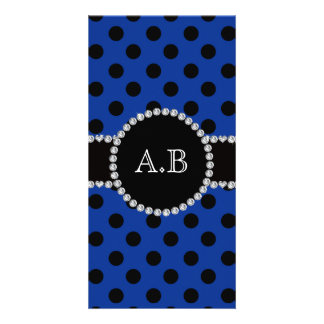 Custom initials blue black polka dots photo card