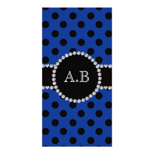 Custom initials blue black polka dots photo card