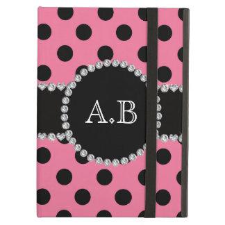Custom initials light pink black polka dots iPad air covers