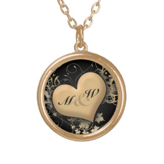 Custom Initials, Love Golden Heart Necklace