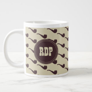 Custom Initials Manly Briar Pipes Hipster Large Coffee Mug