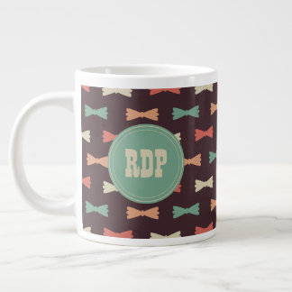 Custom Initials Muliticolor Bowties Hipster Large Coffee Mug