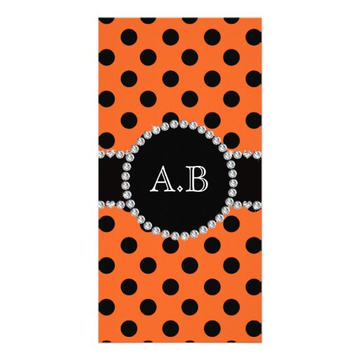 Custom initials orange black polka dots photo greeting card