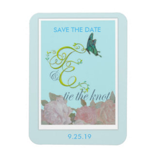 Custom initials painted Save the Date Rectangular Photo Magnet