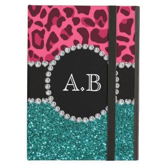 Custom initials pink leopard turquoise glitter iPad air case