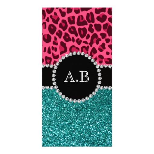 Custom initials pink leopard turquoise glitter custom photo card