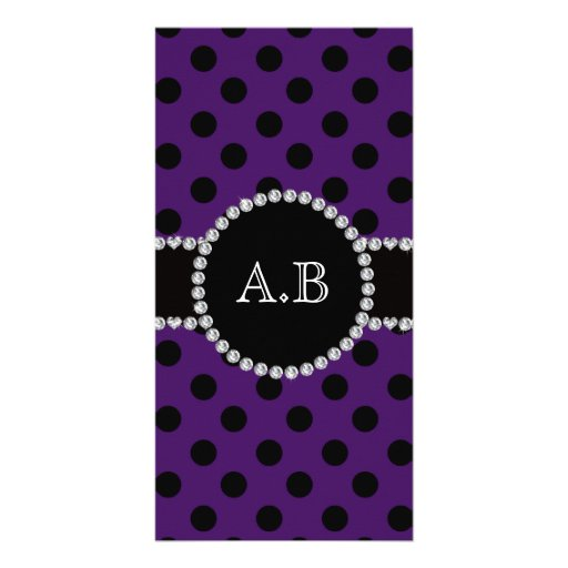 Custom initials purple black polka dots personalized photo card