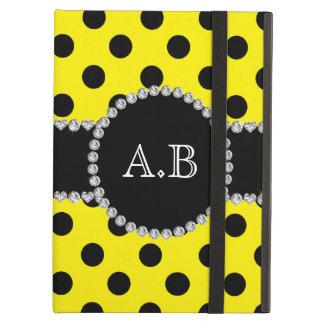 Custom initials yellow black polka dots cover for iPad air