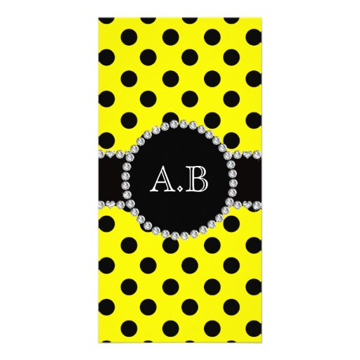 Custom initials yellow black polka dots personalized photo card