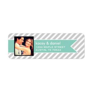 Custom Instagram Photo and Preppy Stripes Return Address Label