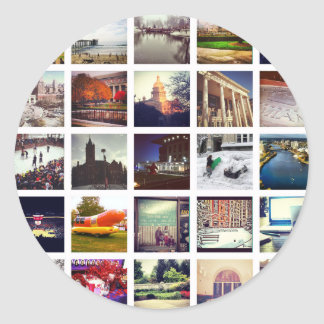 Custom Instagram Photo Collage Classic Round Sticker