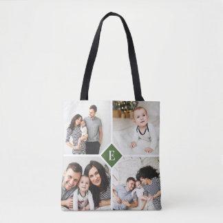 Custom Instagram Photo Collage Family Monogram Tote Bag