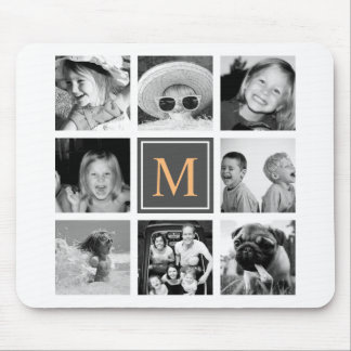 Custom Instagram Photo Collage Monogram Mouse Pad