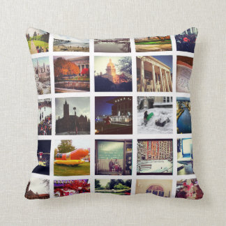 Custom Instagram Photo Collage Throw Pillow