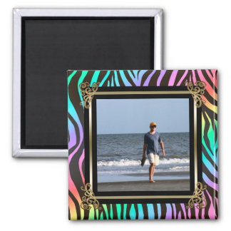 Custom Instagram Photo Rainbow Zebra Animal Print Magnet