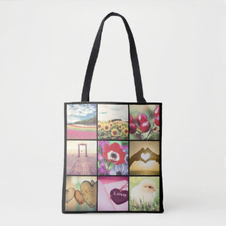 Custom instagram pictures collage tote bag