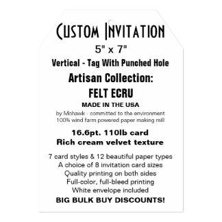 "Custom Invitation 5"" x 7"" FELT ECRU Tag with Hole"