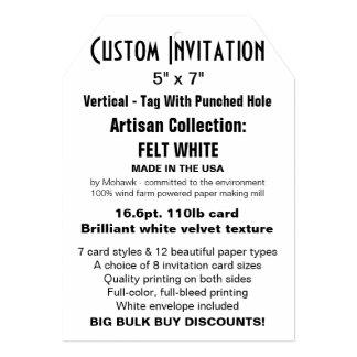 "Custom Invitation 5"" x 7"" FELT WHITE Tag with Hole"