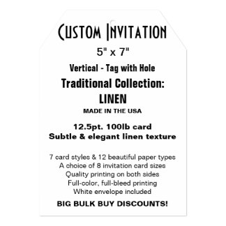 "Custom Invitation 5"" x 7"" LINEN Tag with Hole"