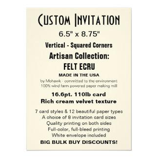 "Custom Invitation 6.5"" x 8.75"" FELT ECRU"
