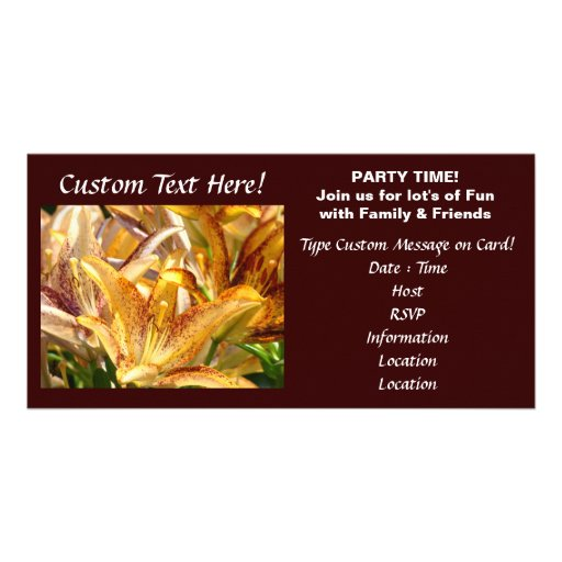Custom Invitation Cards Lilies Flowers Events Customized Photo Card