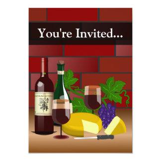 Custom Invitation, Wine and Cheese Table Scene Card