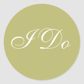 Custom Invite Olive Green I Do Wedding Vows Seals Round Sticker