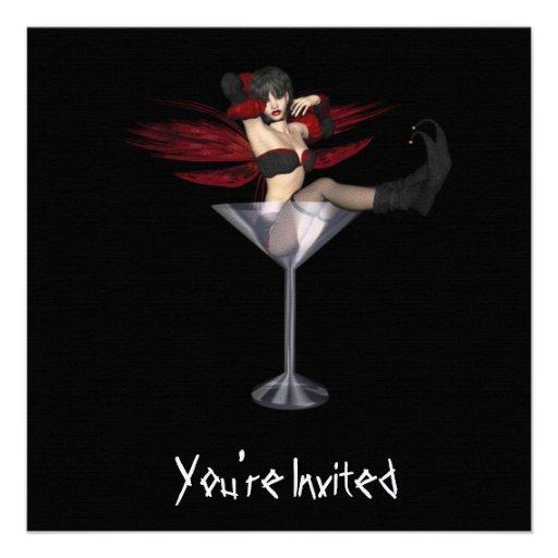 CUSTOM INVITES - Red Wing Fairy Martini Glass