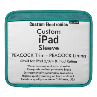 Custom iPad Sleeve - Horizontal Peacock & Peacock
