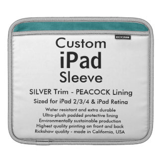 Custom iPad Sleeve - Horizontal (Silver & Peacock)