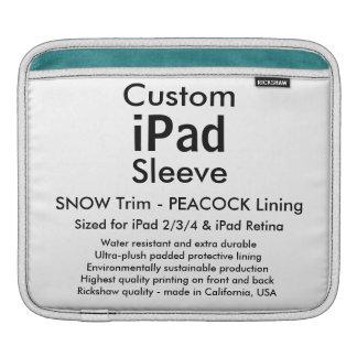 Custom iPad Sleeve - Horizontal (Snow & Peacock)